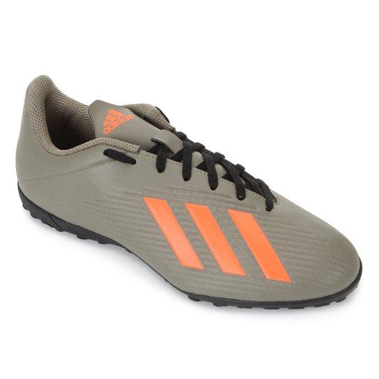 Chuteira Society Adidas X 19 4 TF - Verde+laranja