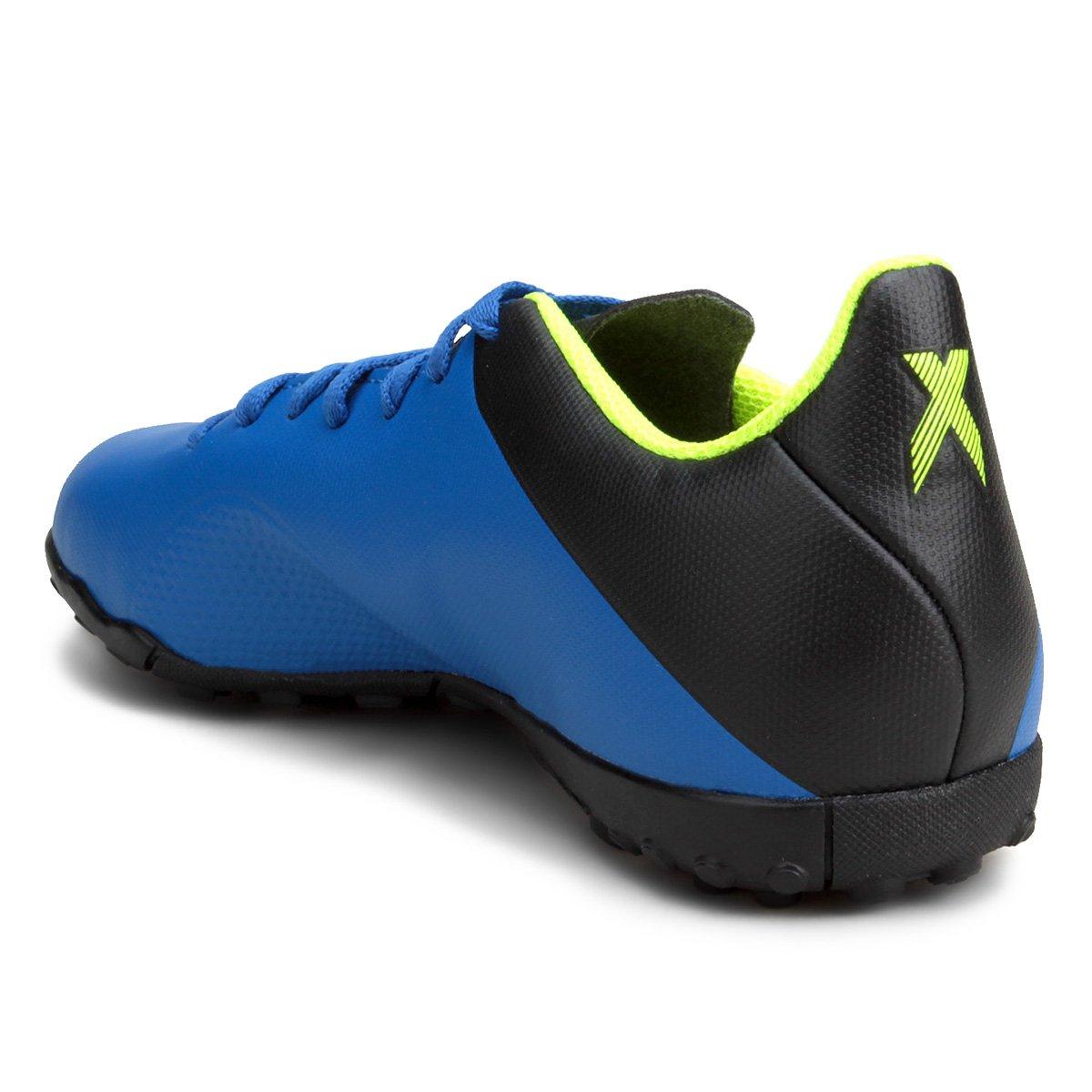 Chuteira Society Adidas X Tango 18 4 TF - Azul e Preto - Compre ... e9be94f6e85f4