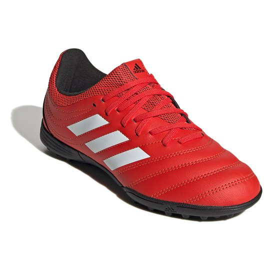 Chuteira Society Infantil Adidas Copa 20 3 TF Jr - Vermelho+Branco