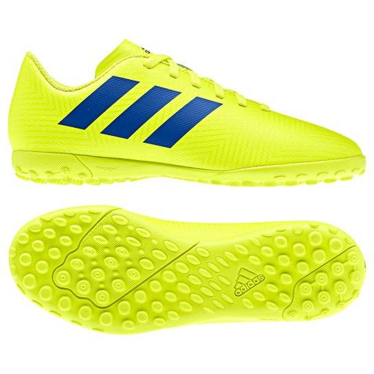 Chuteira Society Infantil Adidas Nemeziz 18 4 TF - Amarelo+Azul