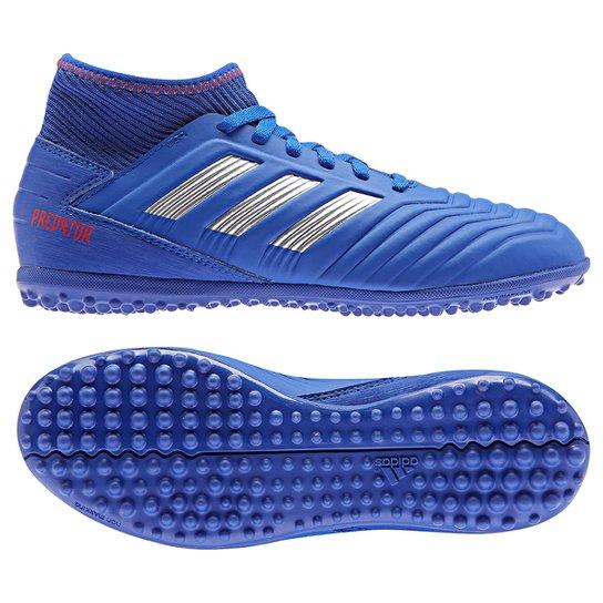 Chuteira Society Infantil Adidas Predator 19 3 TF - Azul+Prata