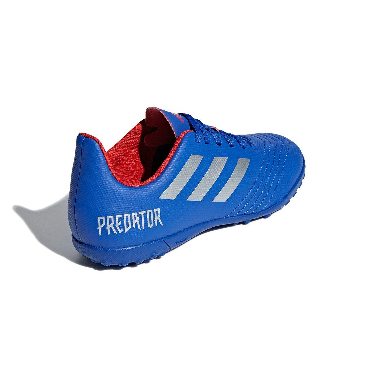 Chuteira Society Infantil Adidas Predator 19 4 TF - Azul e Prata ... 81e4040073aa5