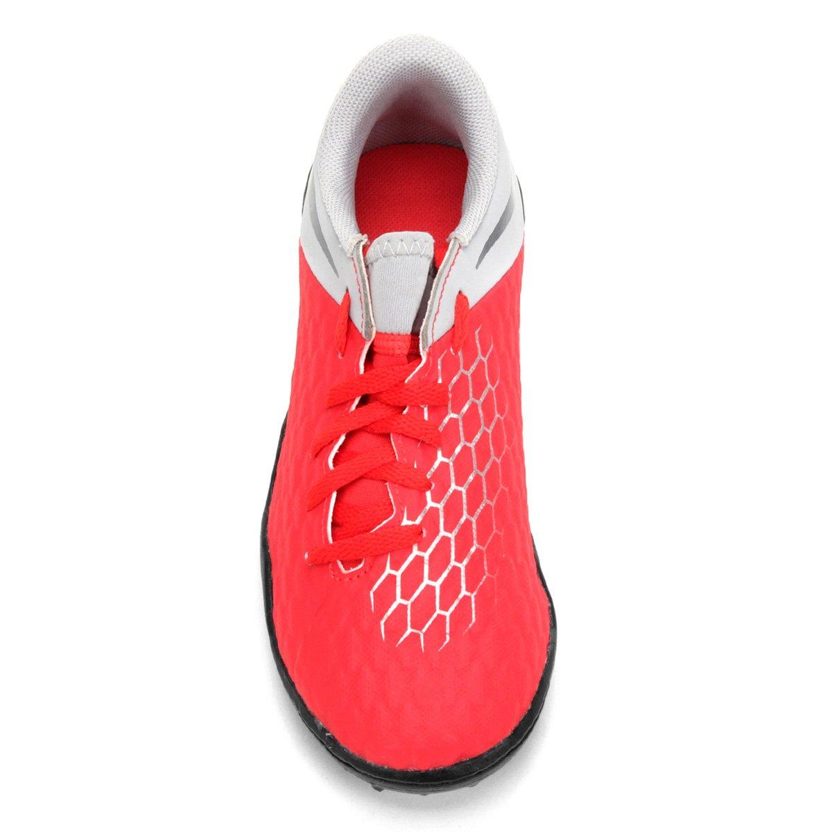 b6fc7bb12c Chuteira Society Infantil Nike Hypervenom 3 Academy TF - Vermelho e Cinza