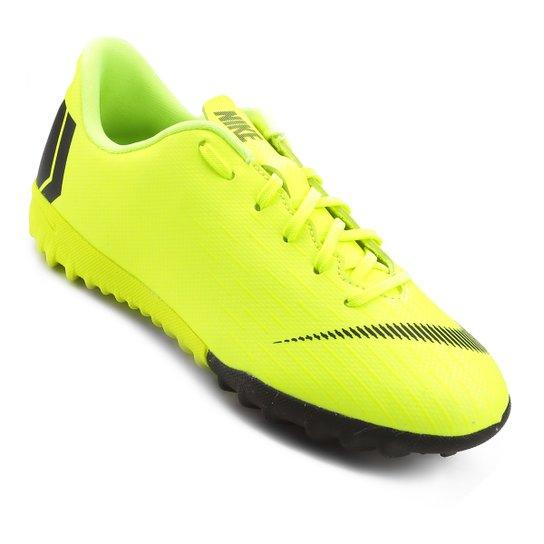 Chuteira Society Infantil Nike Mercurial Vapor 12 Academy GS TF - Amarelo+Preto