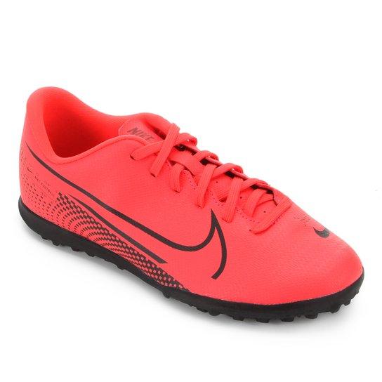 Chuteira Society Infantil Nike Mercurial Vapor 13 Club TF - Vermelho+Preto