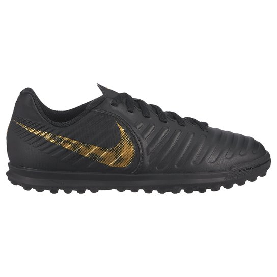 Chuteira Society Infantil Nike Tiempo Legend 7 Club TF - Preto+Dourado
