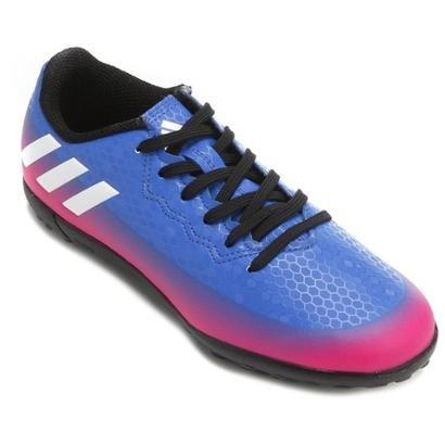 Chuteira Society Juvenil Adidas Messi 16.4 TF - Azul e Pink - Compre Agora   026c259198f9d