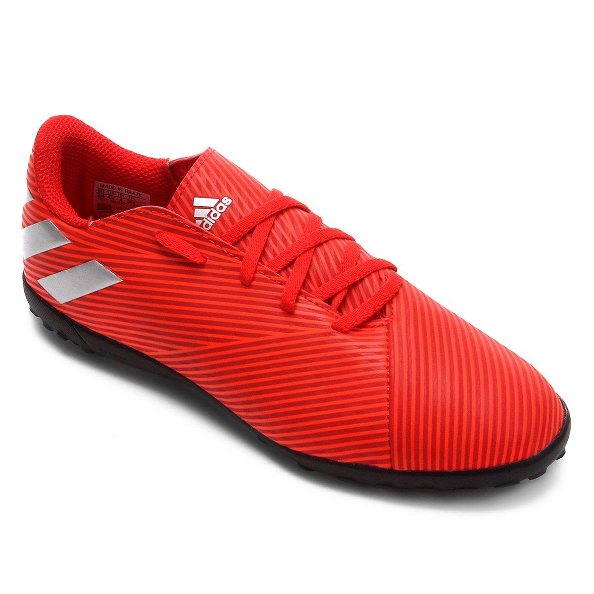 Chuteira Society Juvenil Adidas Nemeziz 19 4 TF - Vermelho