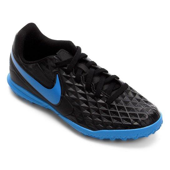 Chuteira Society Juvenil Nike Tiempo Legend 8 Club - Preto+Azul