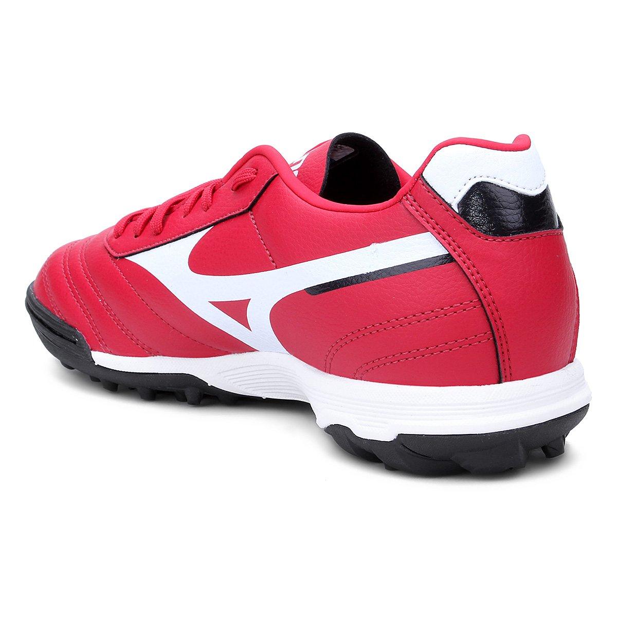Chuteira Society Mizuno Morelia Classic AS P - Vermelho e Branco ... 30d491397fe82