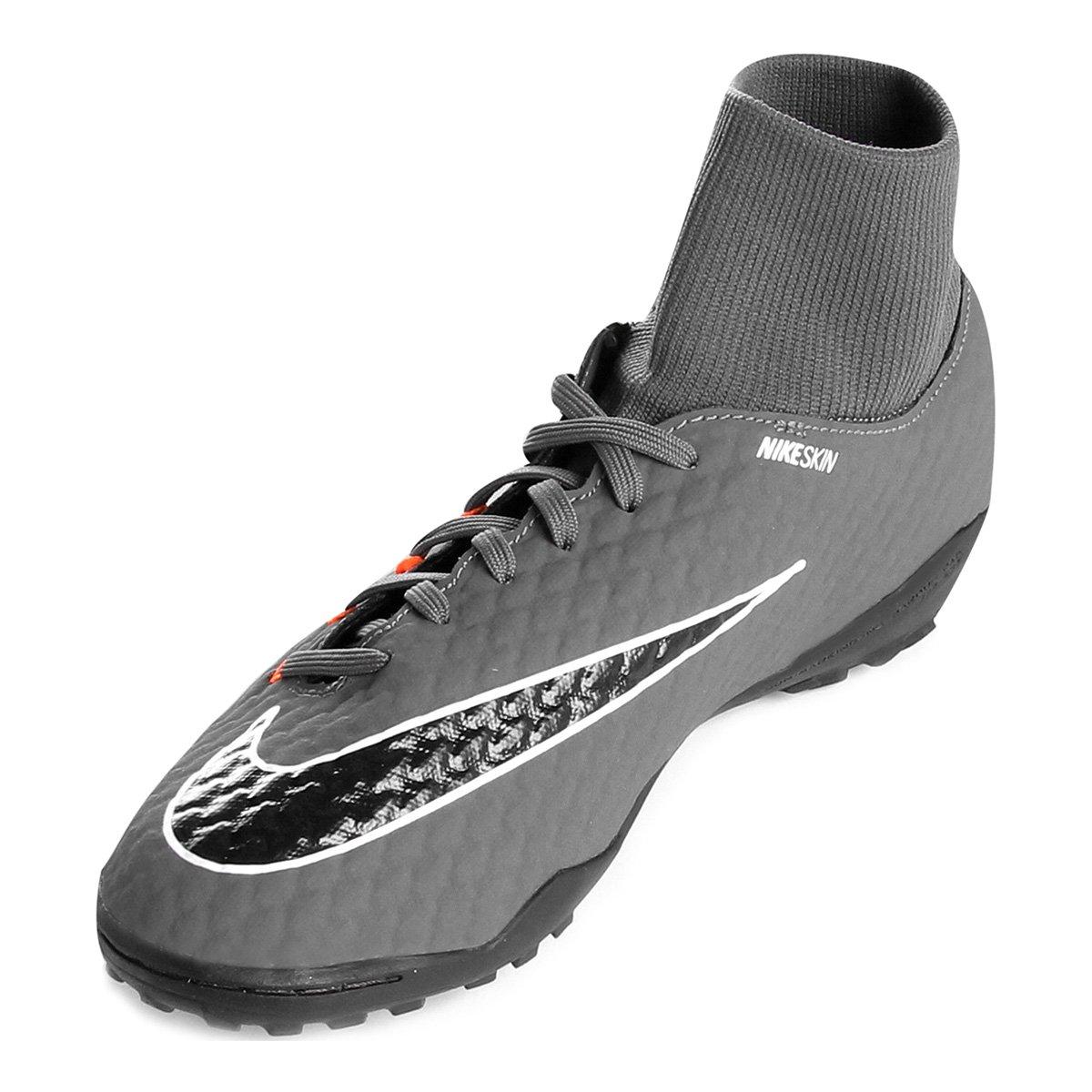 Chuteira Society Nike Hypervenom Phantom 3 Academy DF TF - Cinza e ... 655491ae73c13