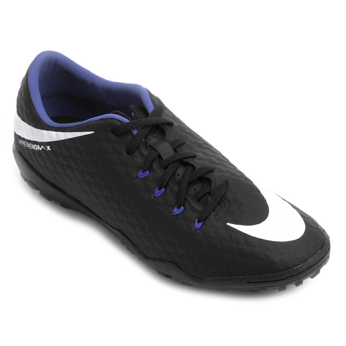 485dadc77b Chuteira Society Nike Hypervenom Phelon 3 TF - Preto e Lilás ...