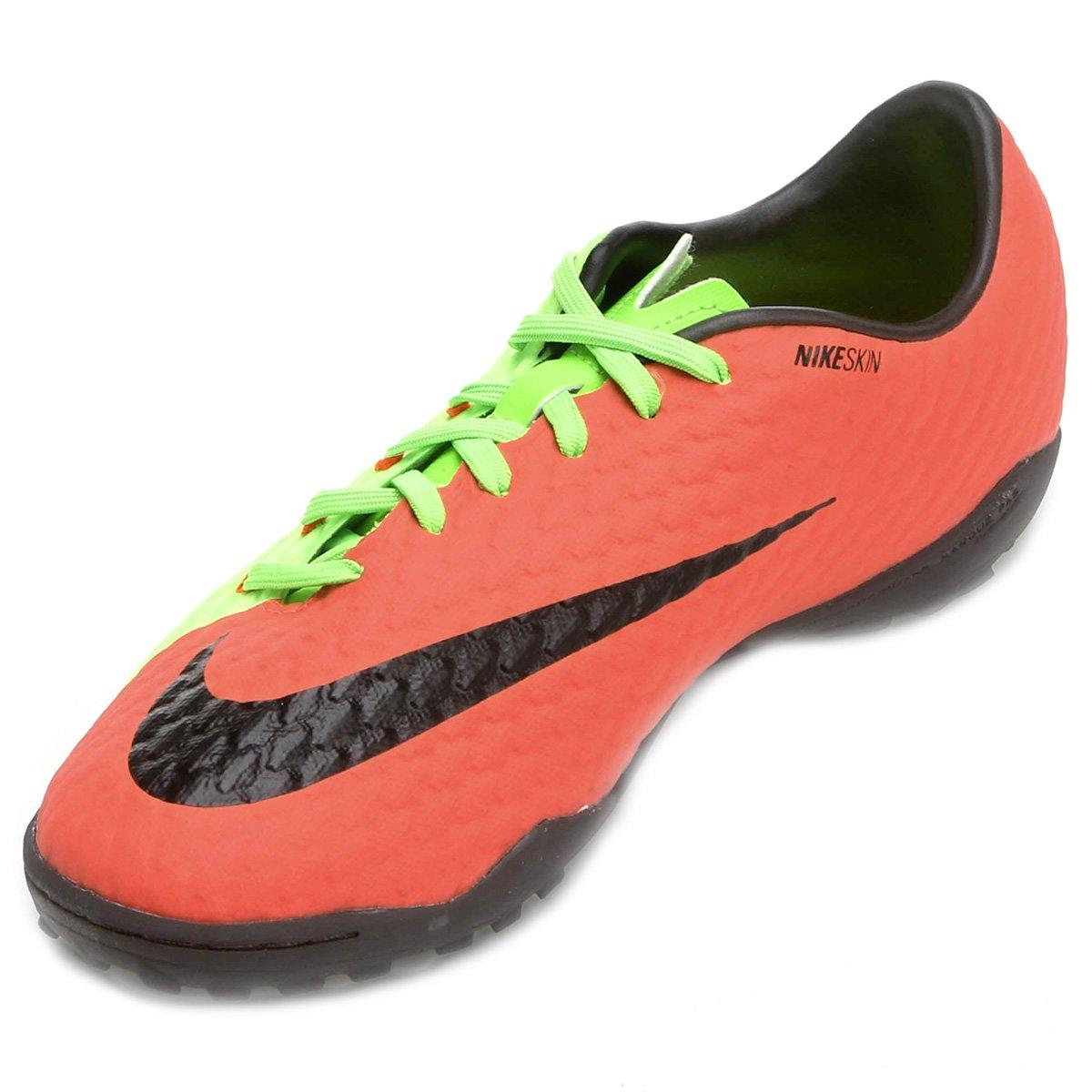 588edaa9cb Chuteira Society Nike Hypervenom Phelon 3 TF - Laranja e Verde ...
