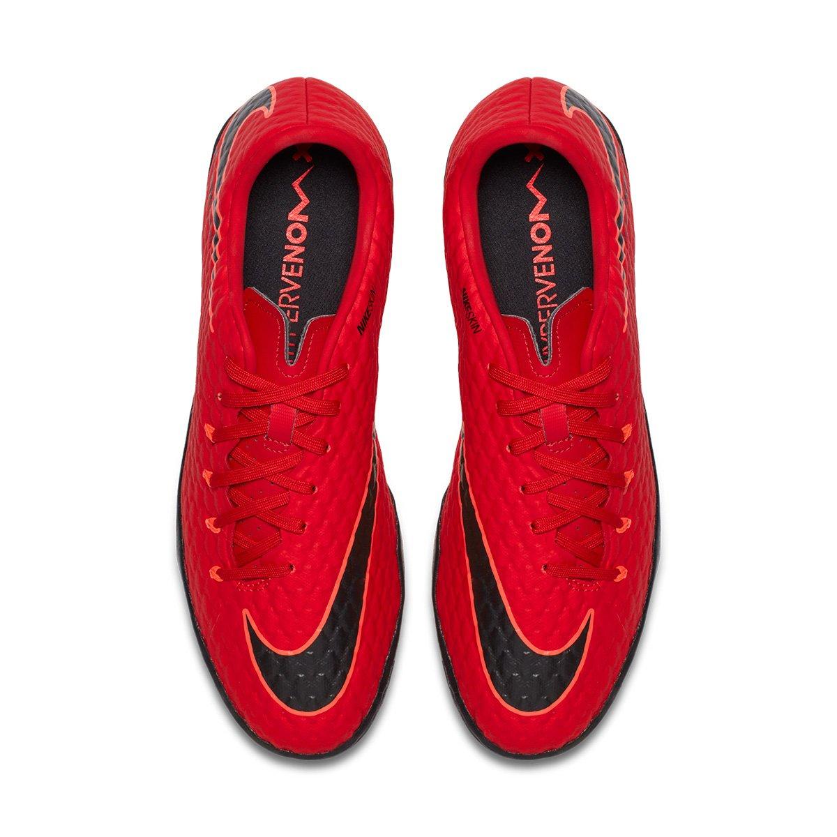 Chuteira Society Nike Hypervenom Phelon 3 TF - Vermelho e Preto ... 7fcc9e1de9f61