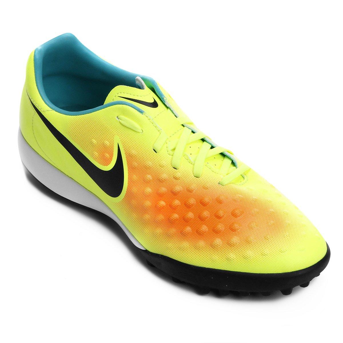 Chuteira Society Nike Magista Onda II TF - Amarelo e Laranja ... 3009038a1d7d2