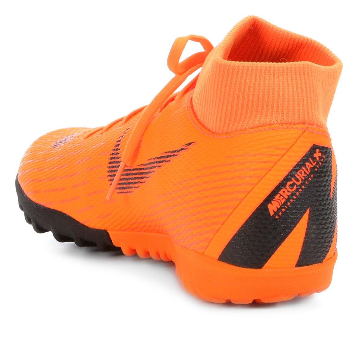 Chuteira Society Nike Mercurial Superfly 6 Academy - Laranja e Preto ... e6720a1192261