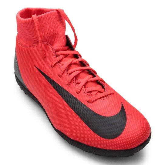 Chuteira Society Nike Mercurial Superfly 6 Club CR7 TF - Vermelho+Preto