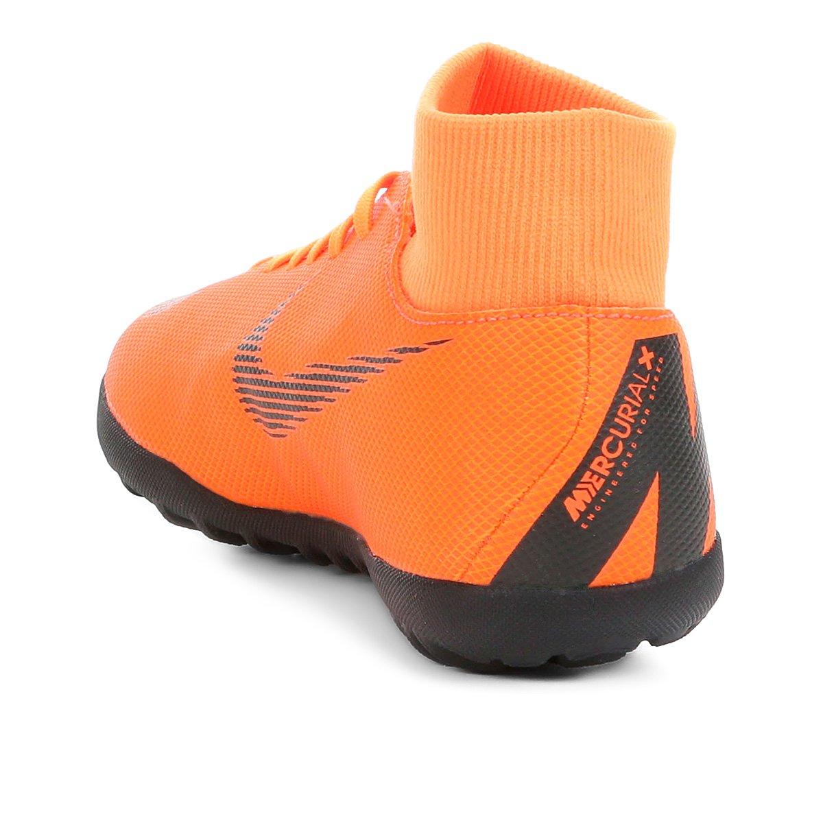 Chuteira Society Nike Mercurial Superfly 6 Club - Laranja e Preto ... 728edcc350359