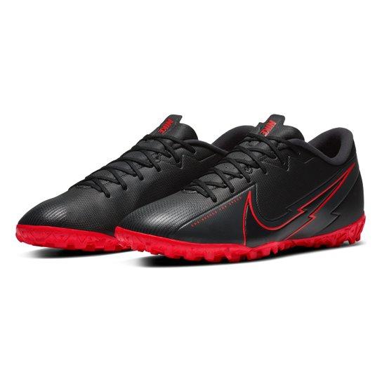 Chuteira Society Nike Mercurial Vapor 13 Academy TF - Preto+Chumbo