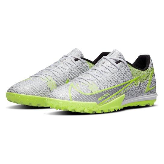 Chuteira Society Nike Mercurial Vapor 14 Academy - Branco+Verde Limão