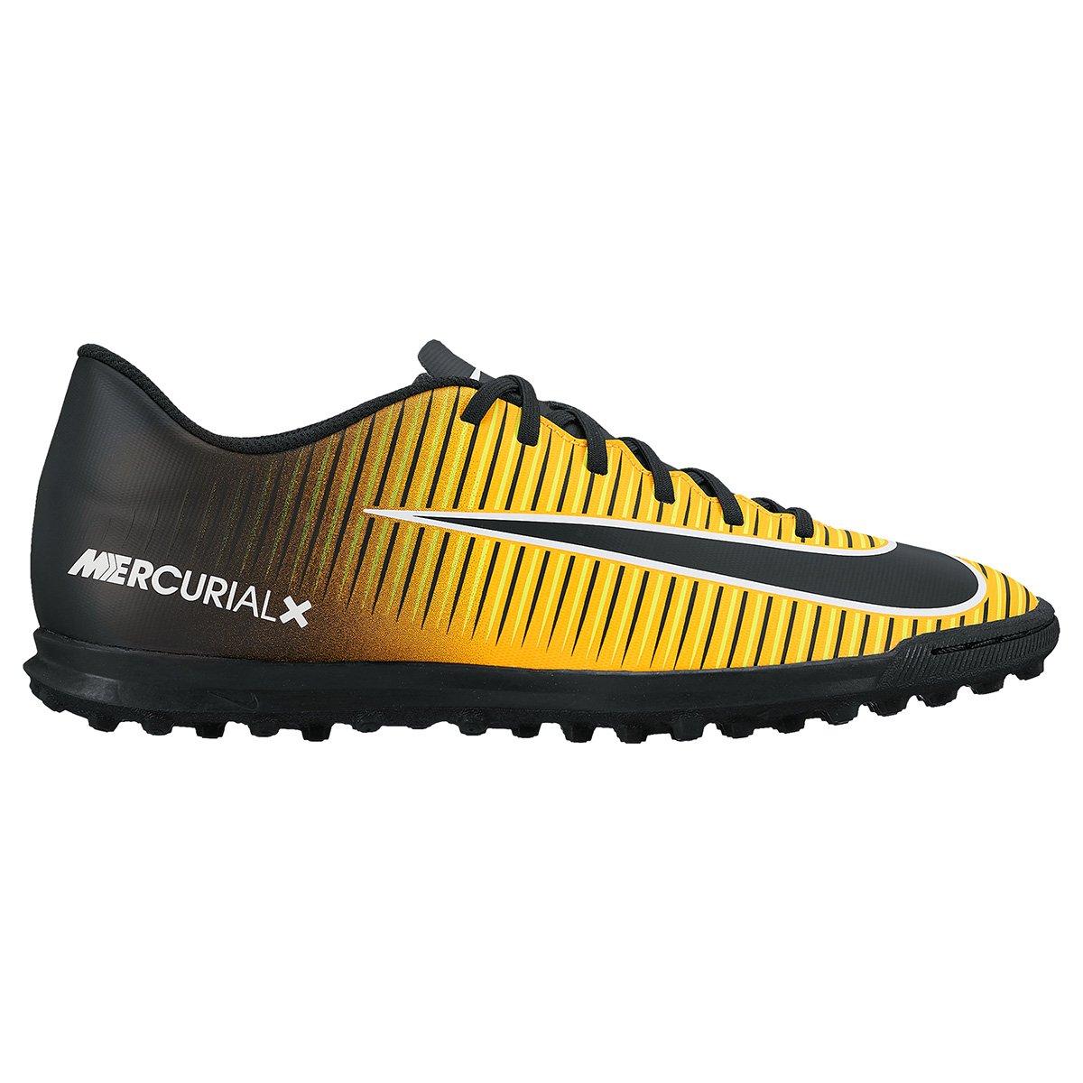 Chuteira Society Nike Mercurial Vortex 3 TF - Preto e Laranja Escuro ... 0738887bd3594