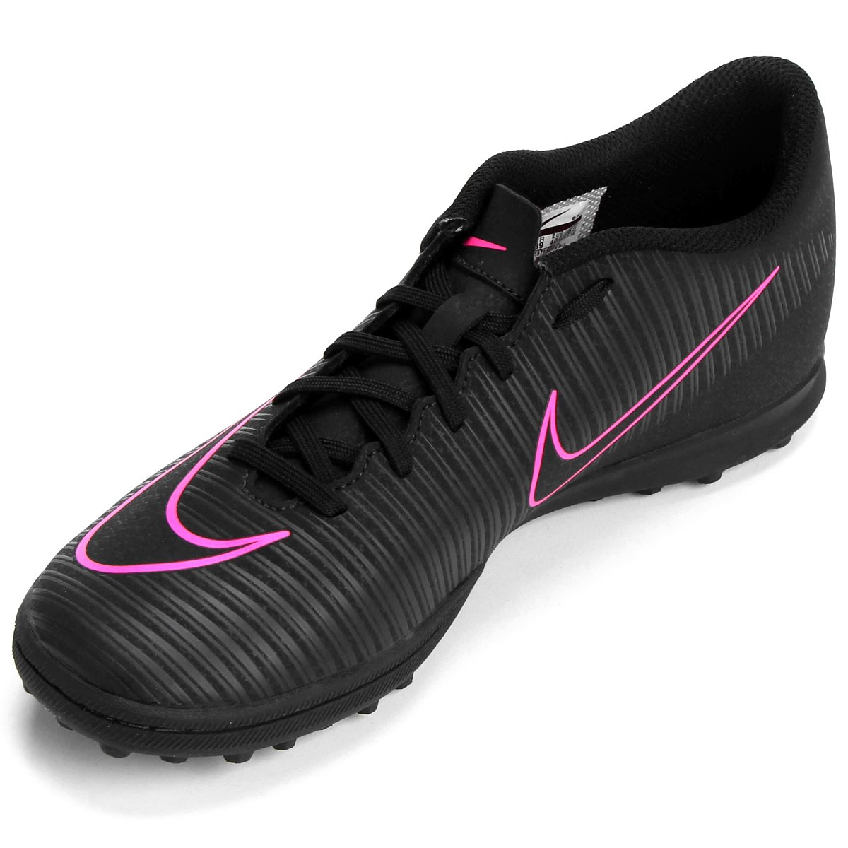 Chuteira Society Nike Mercurial Vortex 3 TF - Preto e Rosa - Compre ... 1fd59edfad249
