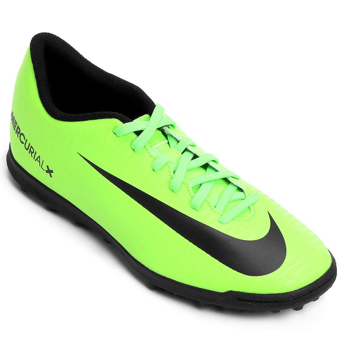 Chuteira Society Nike Mercurial Vortex 3 TF - Verde e Preto - Compre ... 9b38d5ec472cd