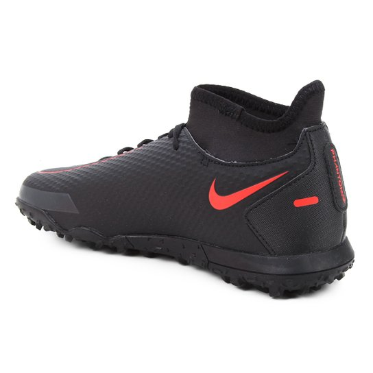Chuteira Society Nike Phantom GT Club DF - Preto+Vermelho