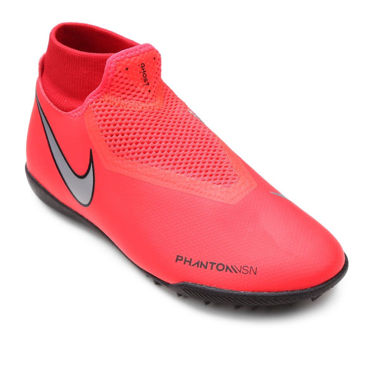 Chuteira Society Nike Phantom Vision Academy DF TF - Vermelho e ... d4723dfbc2671