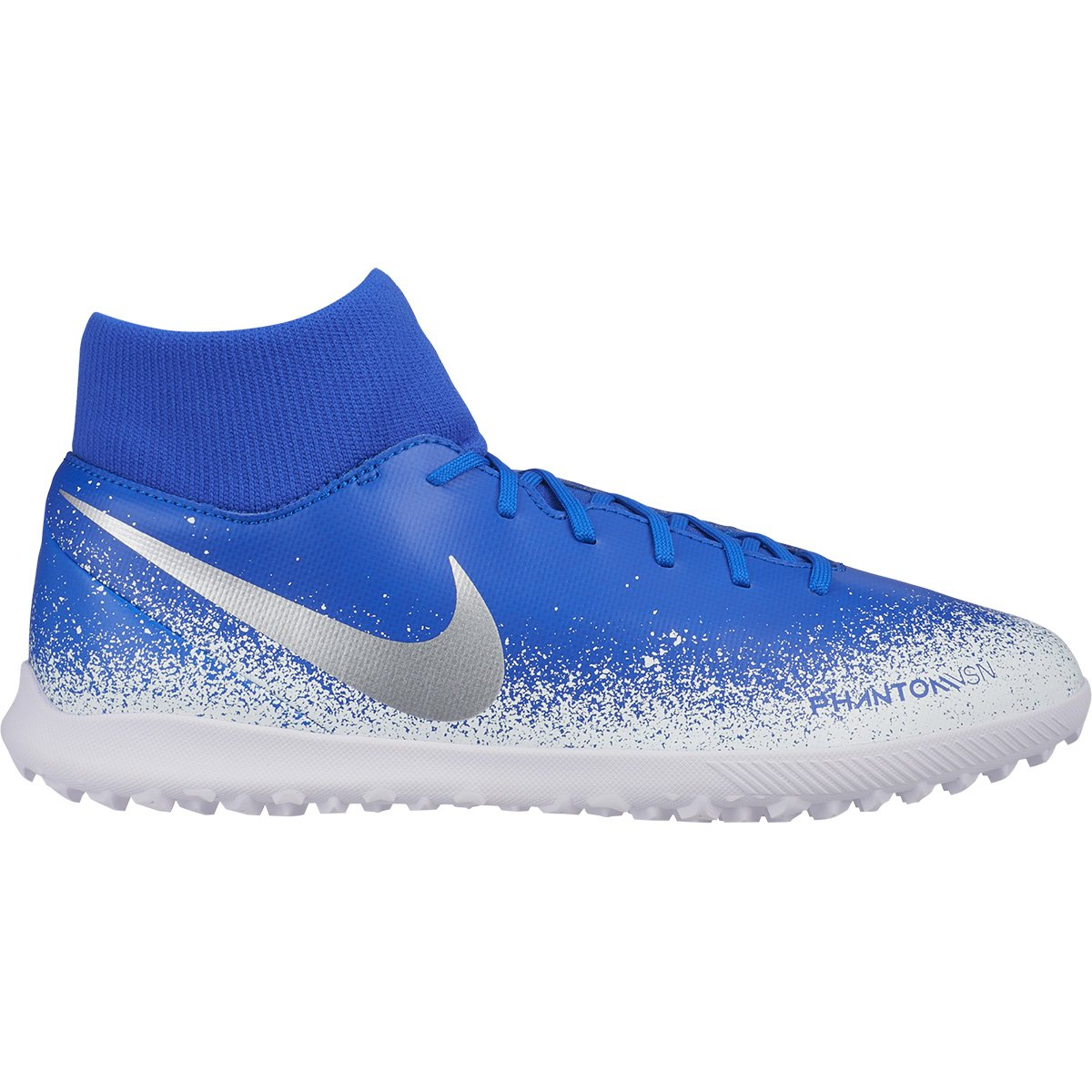 Chuteira Society Nike Phantom Vision Club DF TF - Verde Limão e Azul Royal