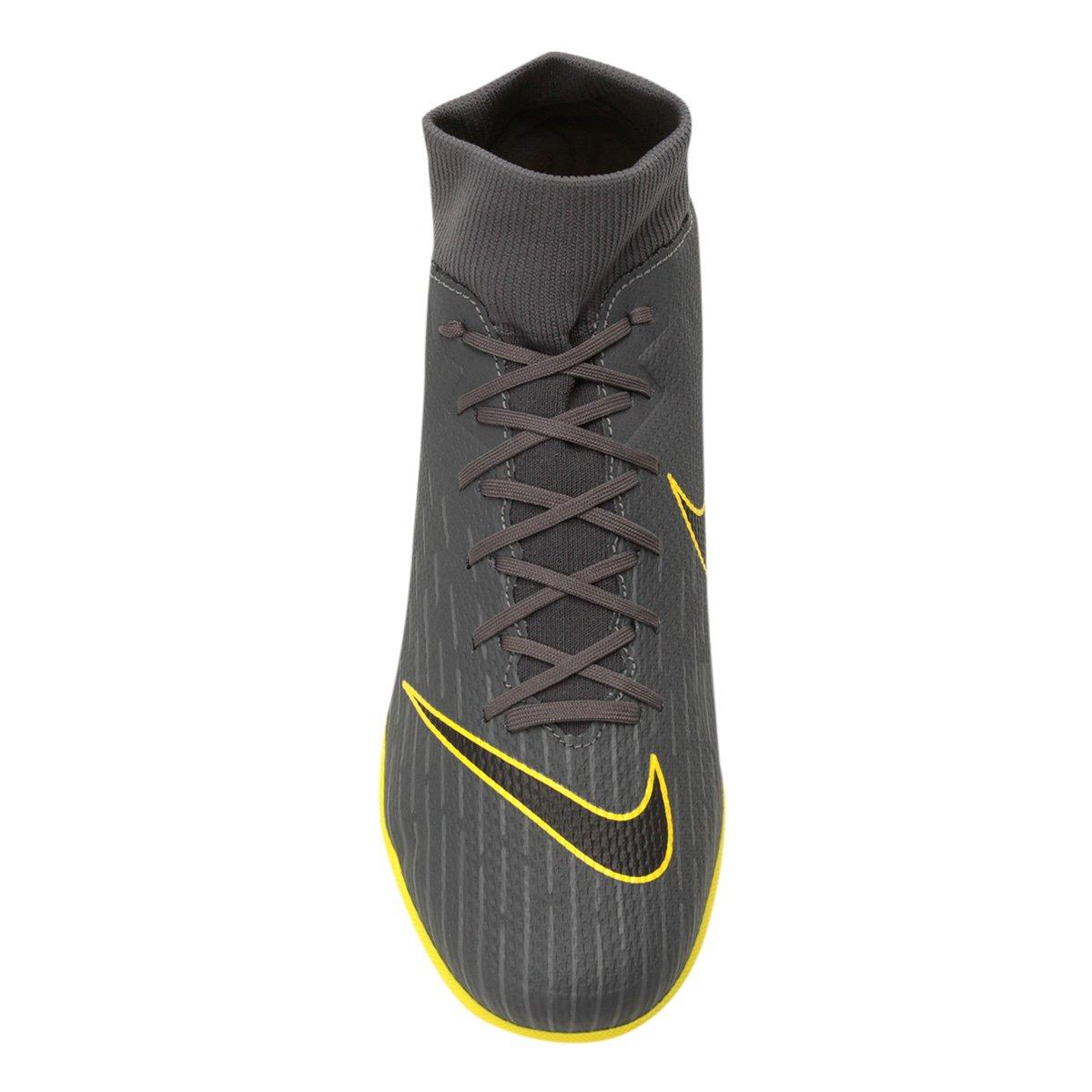 Chuteira Society Nike Superfly 6 Academy TF - Cinza e Amarelo ... 29bd1201ba9ef