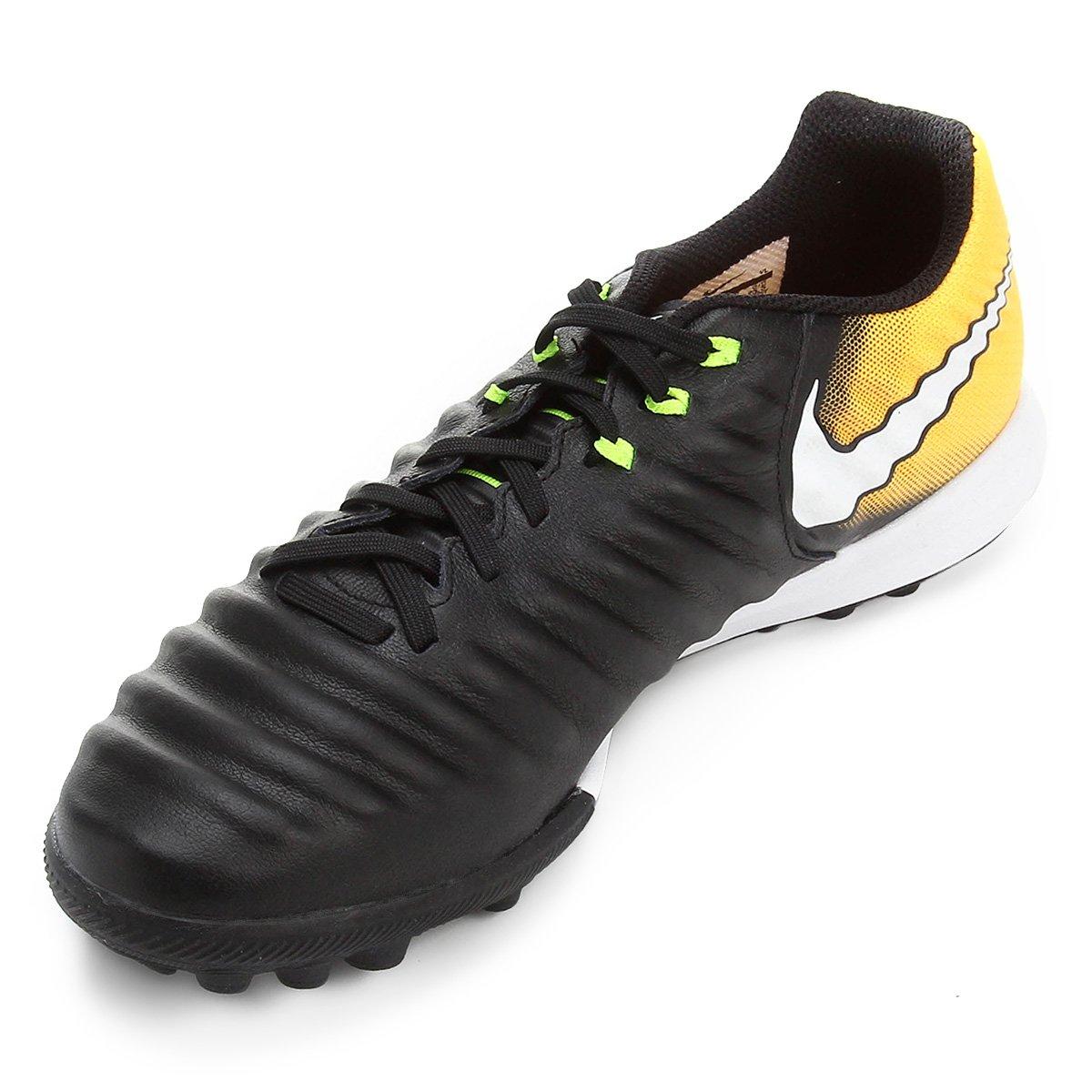 d32cac418a Chuteira Society Nike Tiempo Finale TF - Preto e Laranja - Compre ...