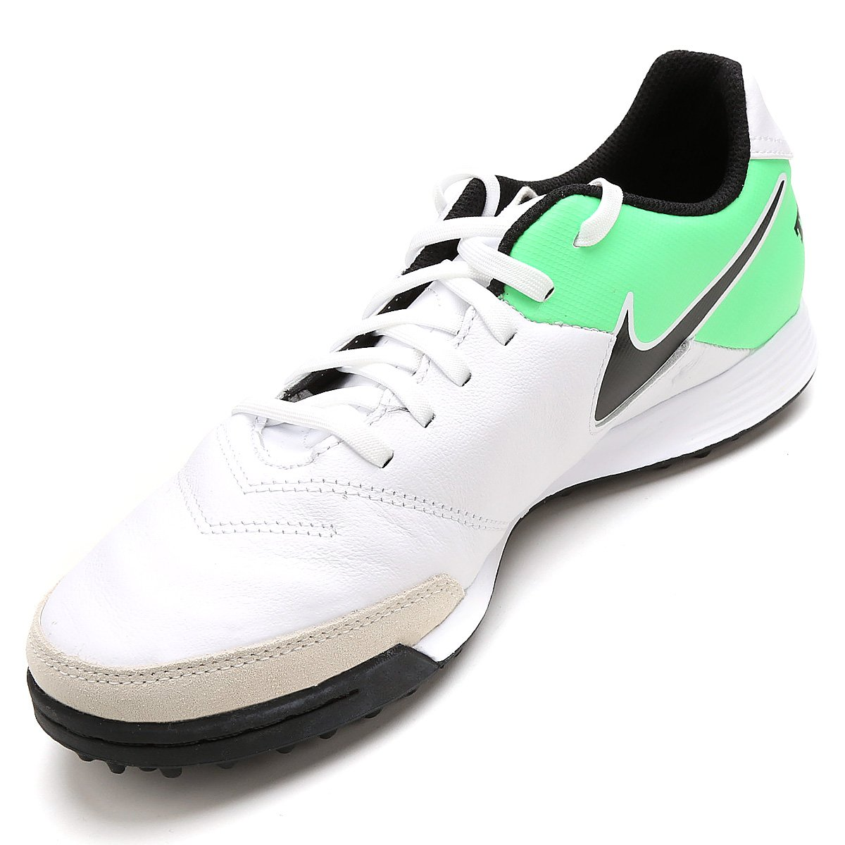 Chuteira Society Nike Tiempo Genio 2 Leather TF - Branco e Verde ... afc00f95b7376