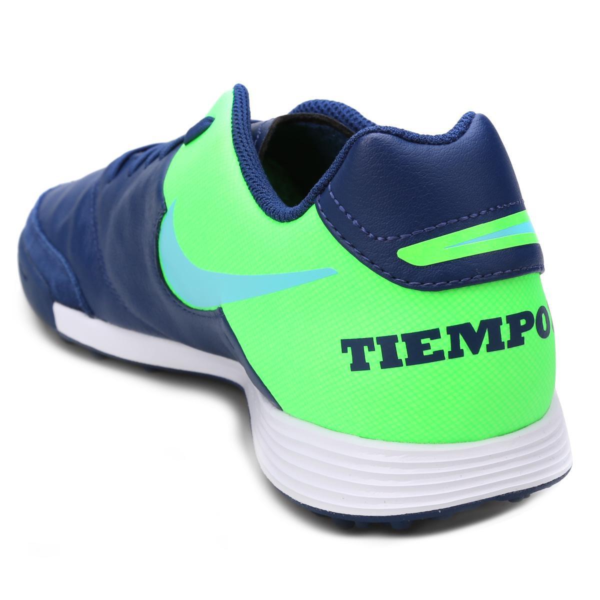 0fe6f2164e Chuteira Society Nike Tiempo Genio 2 Leather TF - Azul e Verde ...