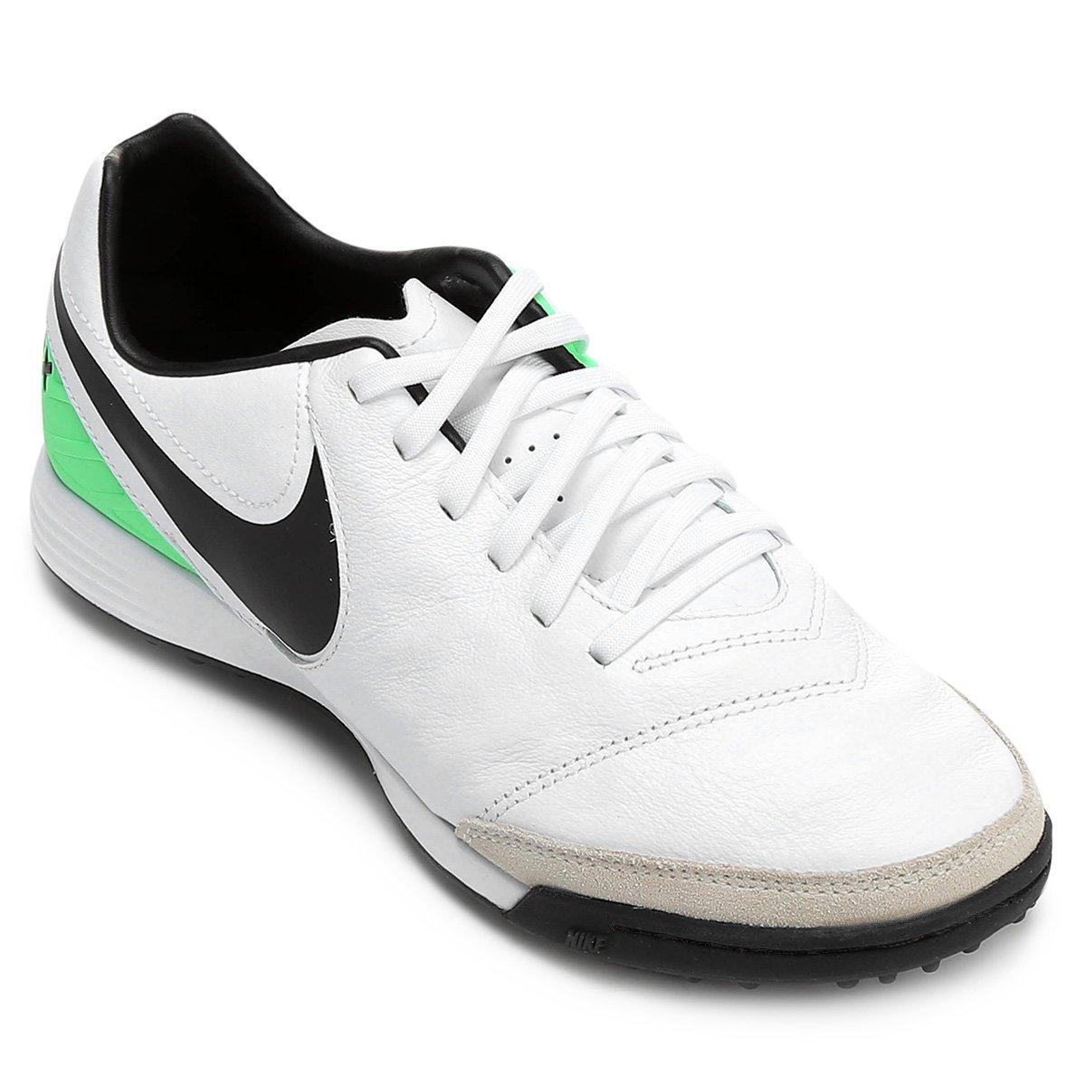 Chuteira Society Nike Tiempo Mystic 5 TF - Branco e Verde - Compre ... 3a2fc5dd945c3