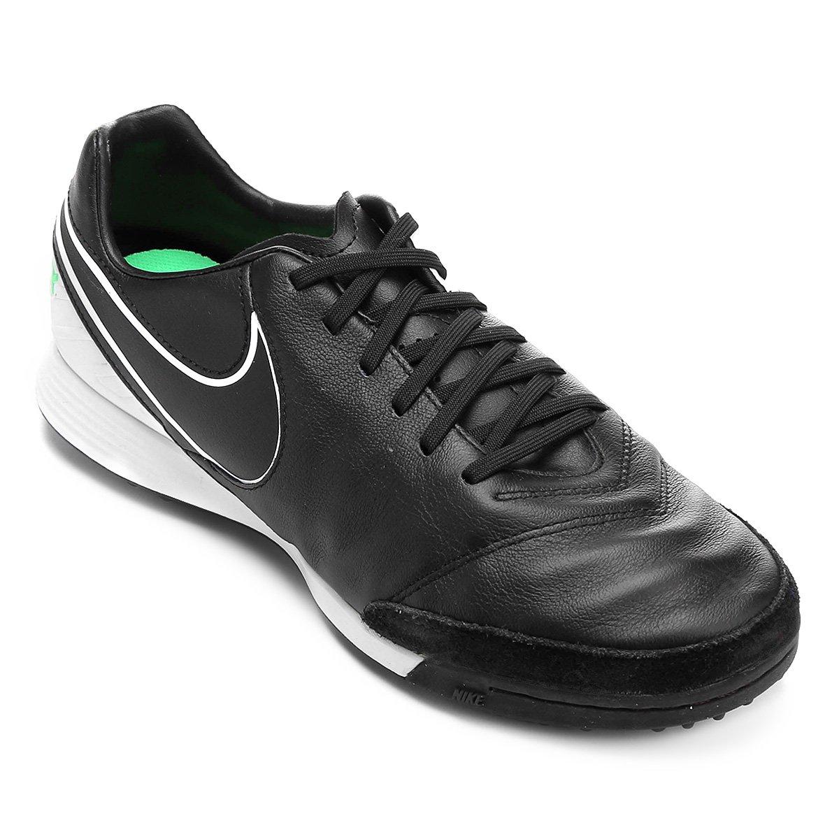 Chuteira Society Nike Tiempo Mystic 5 TF - Preto e verde - Compre ... 88cfa31ed7206
