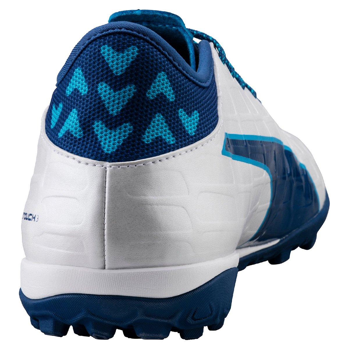 a261490991 Chuteira Society Puma Evotouch 3 TT - Branco e Azul - Compre Agora ...