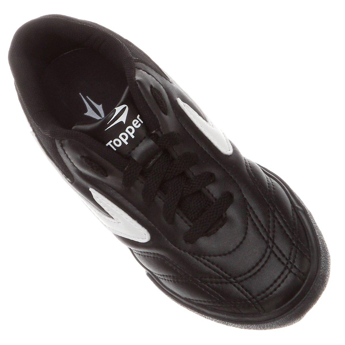 Chuteira Topper Dominator 3 Futsal Infantil - Preto e Branco ... 72a8f5e752403