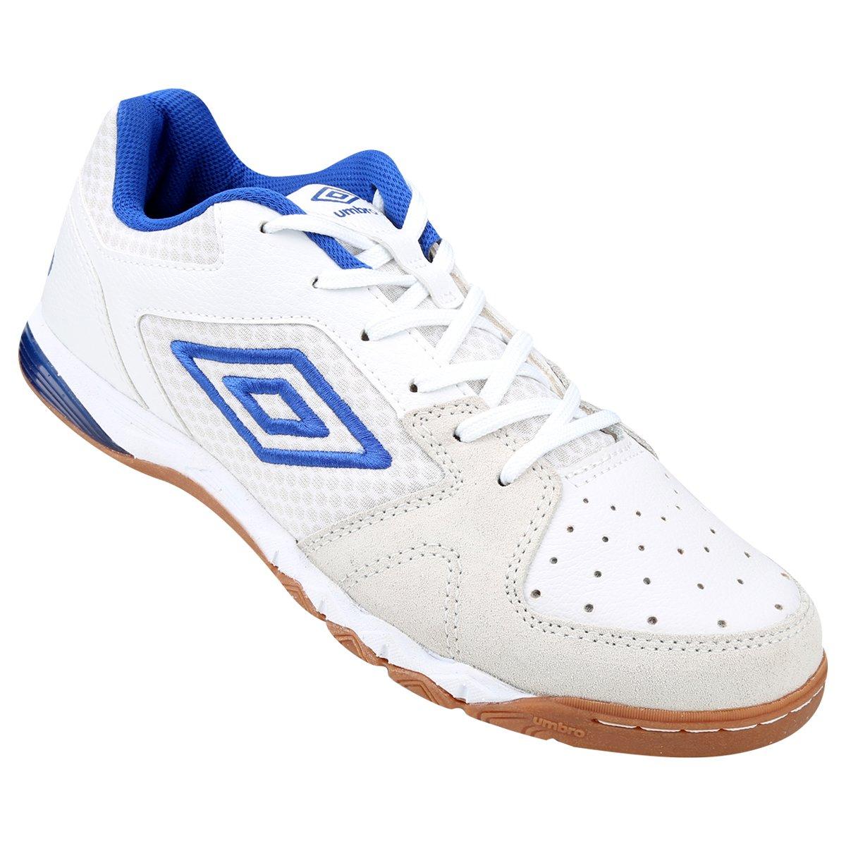 Chuteira Umbro Pro 3 Futsal - Branco e Azul - Compre Agora  74a9279cde9bb
