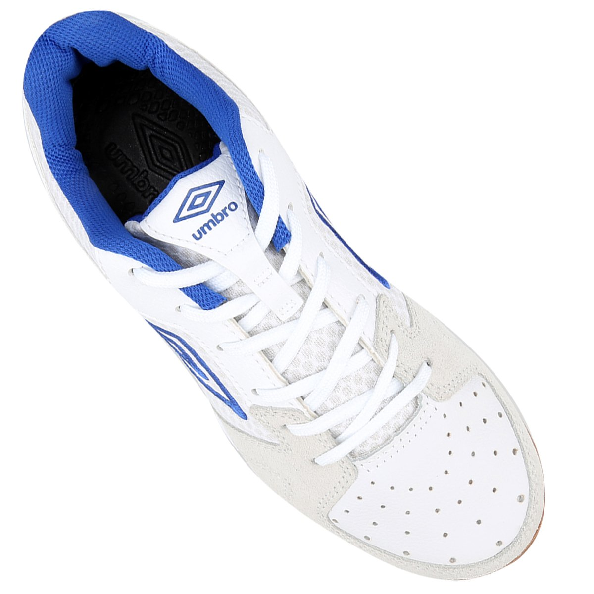 3daa66677b ... Chuteira Umbro Pro 3 Futsal - Branco e Azul - Compre Agora Netshoes  a52938f81251b2 ...