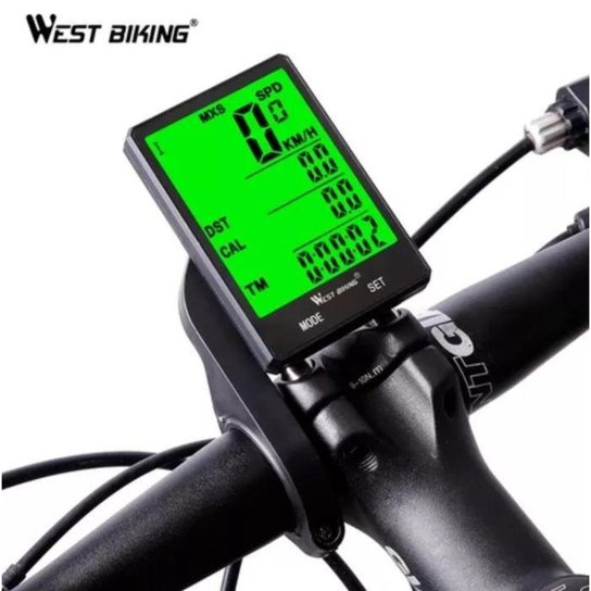 Ciclo Computador Velocímetro Bike Tela 7.5x5cm - Sem Fio - Preto
