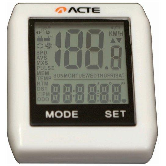 Ciclocomputador Acte Sports - 16 Funções s/ Fio - Branco
