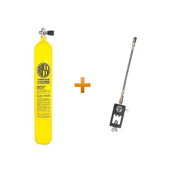 Cilindro Scuba 10lts + Valvula Yoke + Adaptador recarga PCP - Preto