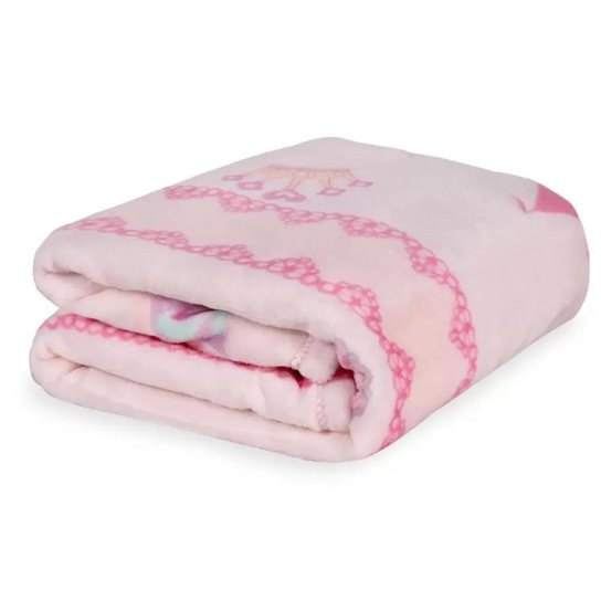 Cobertor Bebê Menina Jolitex Microfibra Flannel Kyor Princesas - Rosa