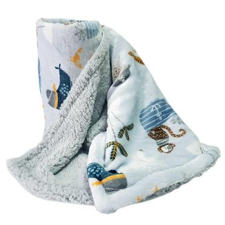 Cobertor Bebê Menino Dupla Face Sherpa Pirata Azul
