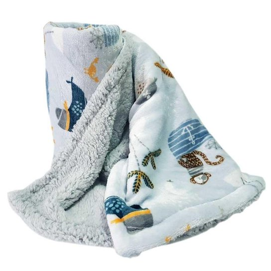 Cobertor Bebê Menino Dupla Face Sherpa Pirata Azul - Azul Claro