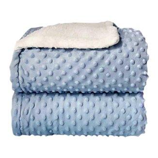 Cobertor Sherpa Relevo Dupla Face Bebê Azul