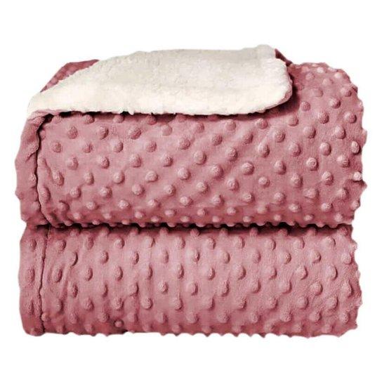 Cobertor Sherpa Relevo Dupla Face Bebê Rosa - Rosa