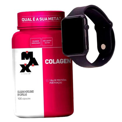 Colageno 100 Caps - Max Titanium + Relogio Digital