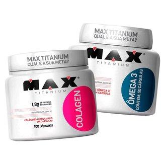 Colágeno 100c + Ômega 3 100c - Max Titanium